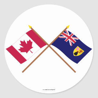 Canada and Turks & Caicos Crossed Flags Round Stickers
