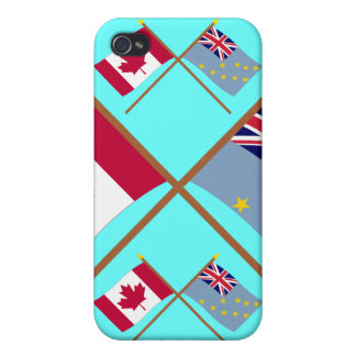 Canada and Tuvalu Crossed Flags iPhone 4/4S Cases