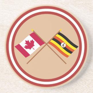 Canada and Uganda Crossed Flags Coasters