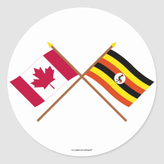 Canada and Uganda Crossed Flags Stickers