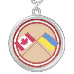 Canada and Ukraine Crossed Flags Necklace