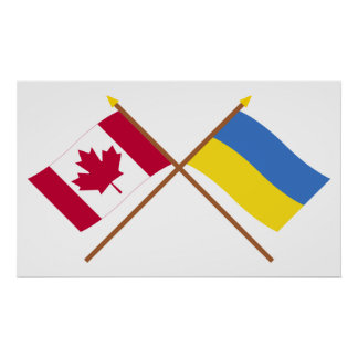 Canada and Ukraine Crossed Flags Poster