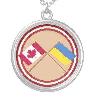 Canada and Ukraine Crossed Flags Round Pendant Necklace