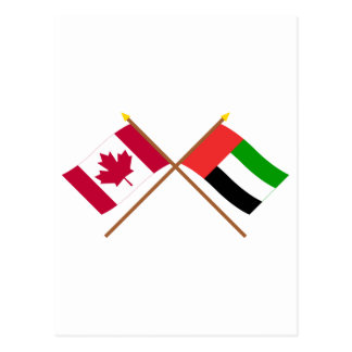 Canada and United Arab Emirates Crossed Flags Postcard