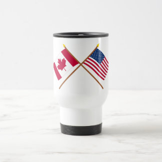 Canada and United States Crossed Flags 15 Oz Stainless Steel Travel Mug