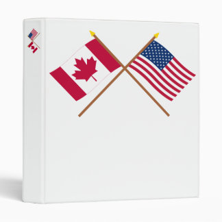 Canada and United States Crossed Flags 3 Ring Binder