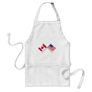 Canada and United States Crossed Flags Adult Apron