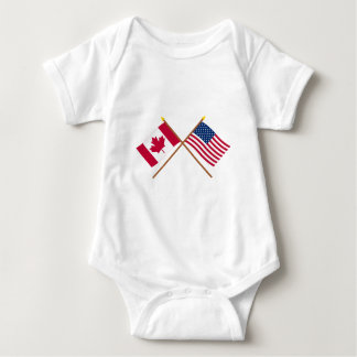 Canada and United States Crossed Flags Baby Bodysuit