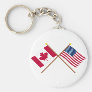 Canada and United States Crossed Flags Basic Round Button Keychain
