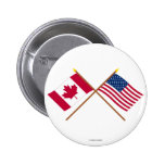 Canada and United States Crossed Flags 2 Inch Round Button