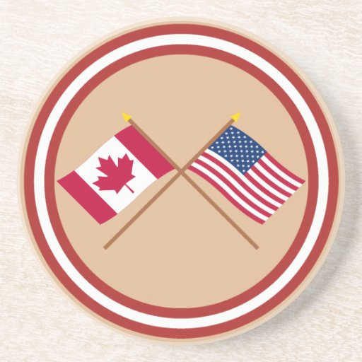 Canada and United States Crossed Flags Coasters