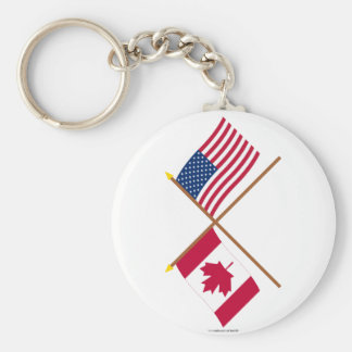 Canada and United States Crossed Flags Keychain