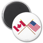 Canada and United States Crossed Flags 2 Inch Round Magnet