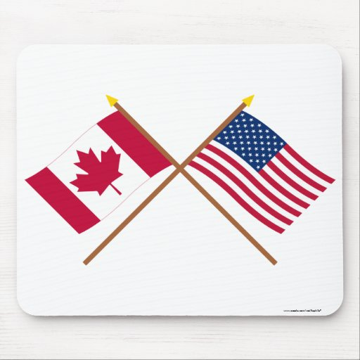 Canada and United States Crossed Flags Mouse Pad