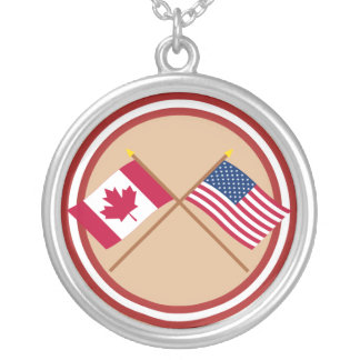 Canada and United States Crossed Flags Pendant