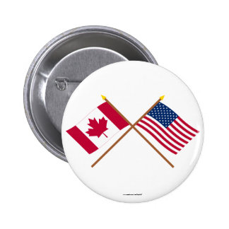 Canada and United States Crossed Flags Pinback Button