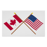 Canada and United States Crossed Flags Poster