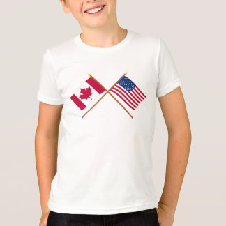 Canada and United States Crossed Flags T-Shirt
