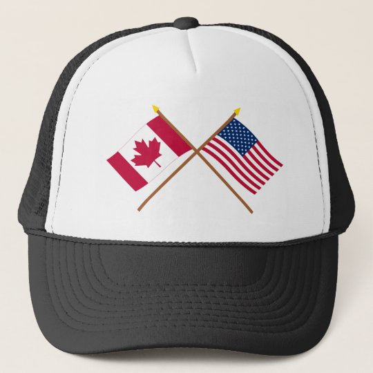 Canada and United States Crossed Flags Trucker Hat