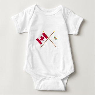 Canada and US Virgin Islands Crossed Flags Baby Bodysuit
