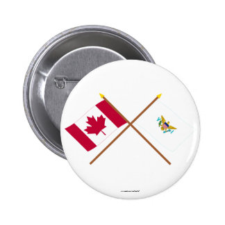 Canada and US Virgin Islands Crossed Flags Pinback Button