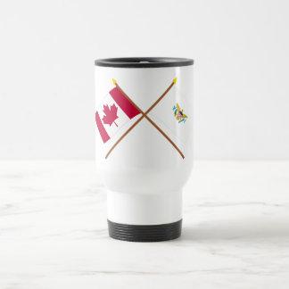 Canada and US Virgin Islands Crossed Flags 15 Oz Stainless Steel Travel Mug