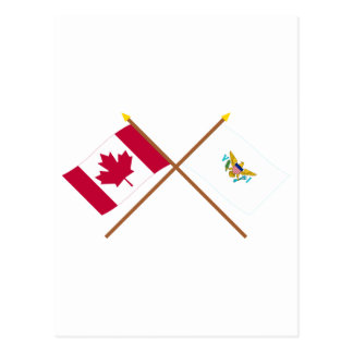 Canada and US Virgin Islands Crossed Flags Postcard