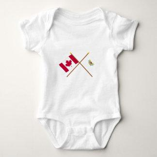 Canada and US Virgin Islands Crossed Flags Tee Shirt