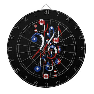 Canada and USA Flag Musical Notes Dart Board