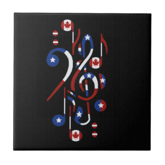 Canada and USA Flag Musical Notes Ceramic Tile