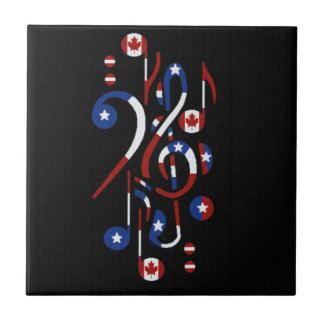 Canada and USA Flag Musical Notes Tiles