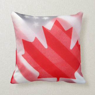 Canada and USA flags Throw Pillow