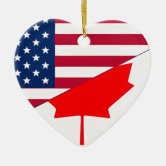 Canada And Usa, hybrids Ceramic Ornament