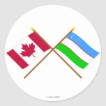 Canada and Uzbekistan Crossed Flags Classic Round Sticker