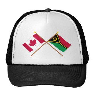 Canada and Vanuatu Crossed Flags Hats