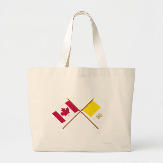 Canada and Vatican City Crossed Flags Jumbo Tote Bag