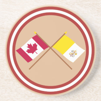 Canada and Vatican City Crossed Flags Drink Coasters