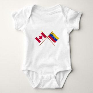 Canada and Venezuela Crossed Flags Baby Bodysuit