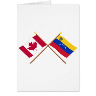 Canada and Venezuela Crossed Flags Card