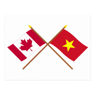 Canada and Vietnam Crossed Flags Postcard