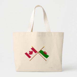 Canada and Wales Crossed Flags Jumbo Tote Bag