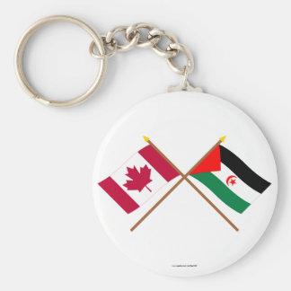 Canada and Western Sahara Crossed Flags Keychain