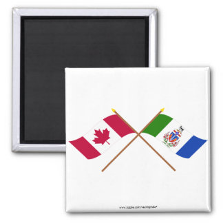 Canada and Yukon Territory Crossed Flags 2 Inch Square Magnet