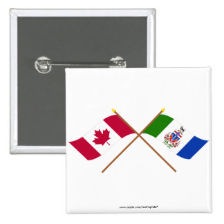 Canada and Yukon Territory Crossed Flags 2 Inch Square Button