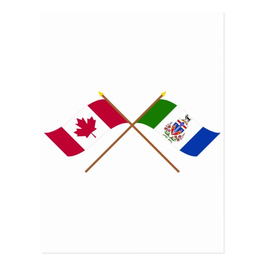 Canada and Yukon Territory Crossed Flags Postcard