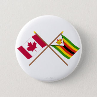 Canada and Zimbabwe Crossed Flags Pinback Button