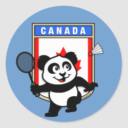 Round Sticker with Canadian Badminton Panda design