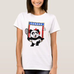 Women's Basic T-Shirt with Canadian Badminton Panda design