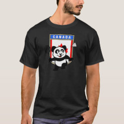 Men's Basic Dark T-Shirt with Canadian Badminton Panda design