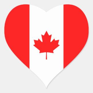 Canadá/bandera canadiense del corazón pegatina en forma de corazón